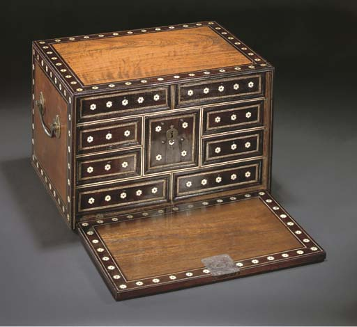 AN IVORY INLAID DROP-FRONT WOODEN CHEST, INDO-PORTUGUESE, 17TH CENTURY