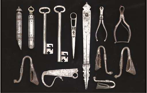 A COLLECTION OF STEEL OBJECTS, IRAN, 17TH/19TH CENTURY