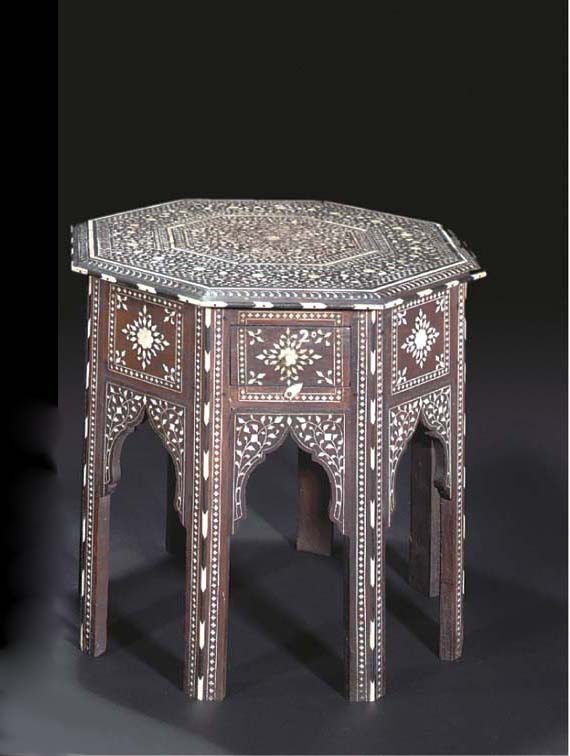 A HOSHIAPUR IVORY INLAID WOODEN TABLE, INDIA, 19TH CENTURY