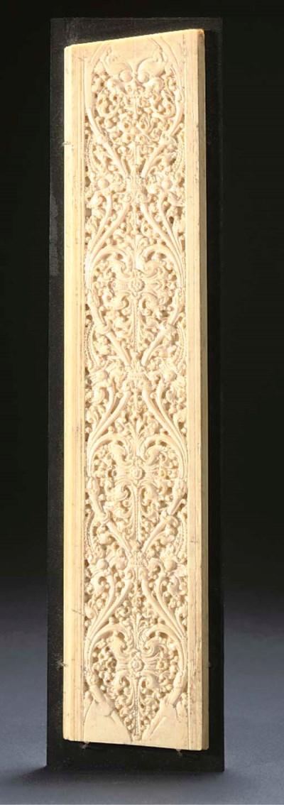 A CARVED IVORY PANEL, SRI LANK