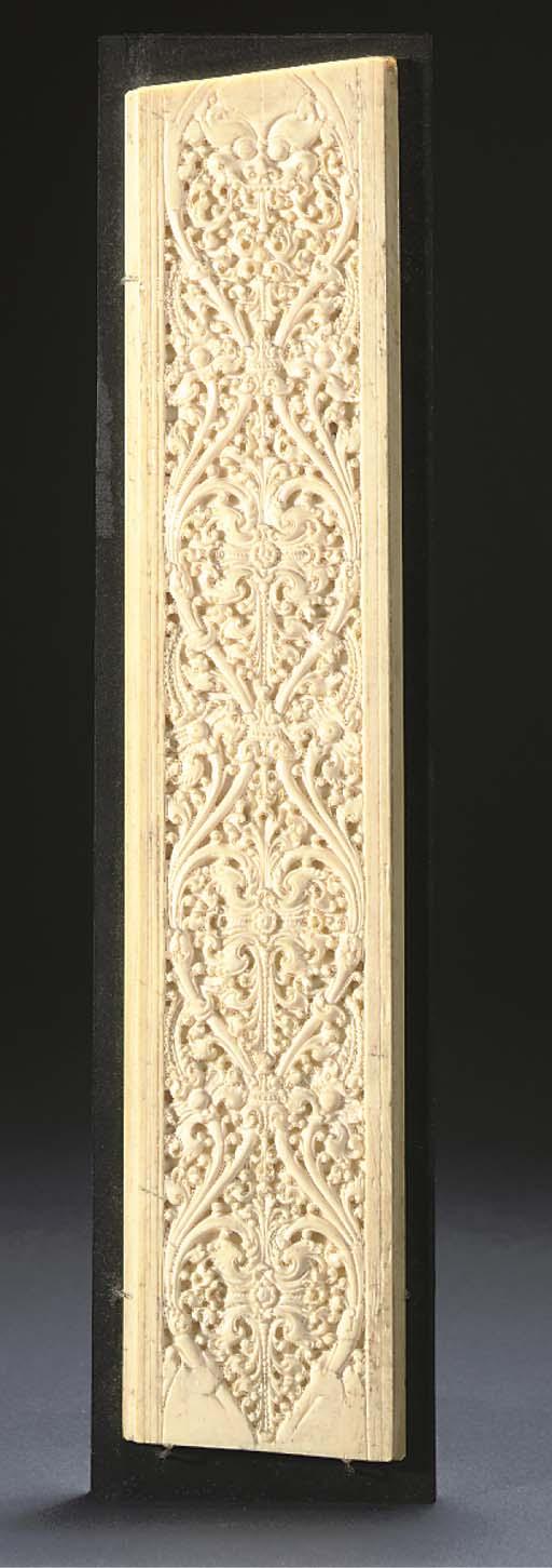 A CARVED IVORY PANEL, SRI LANKA, 17TH/18TH CENTURY