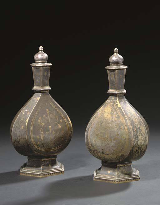 A PAIR OF TINNED BRONZE VASES