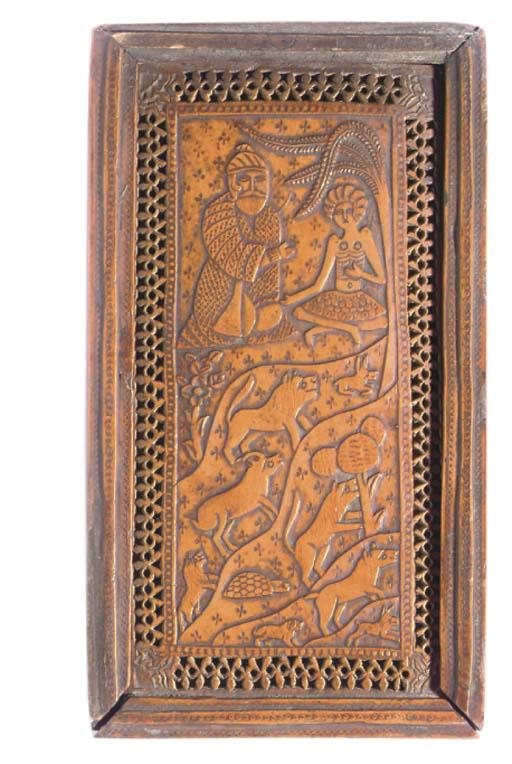 A CARVED WOODEN QAJAR MIRROR CASE, IRAN, CIRCA 1900