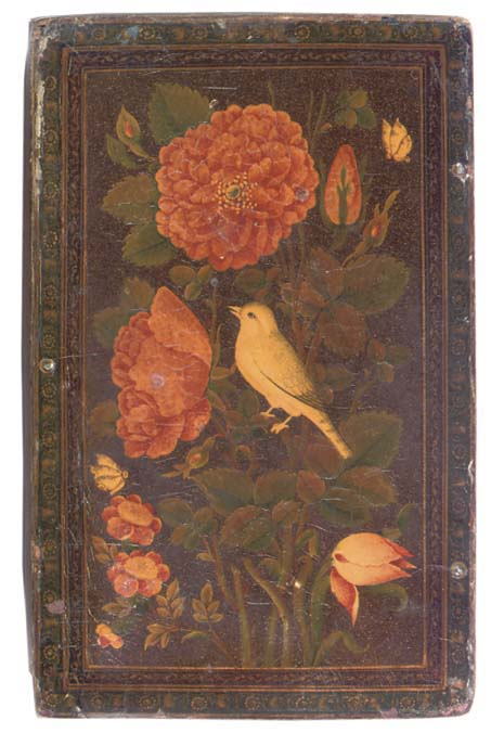 A QAJAR LACQUER MIRROR CASE AN