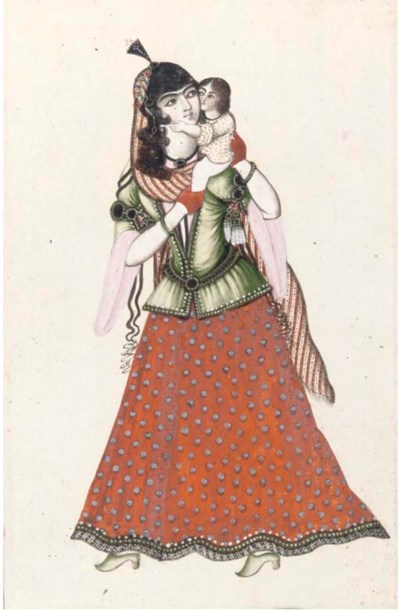 MOTHER AND CHILD, QAJAR, 19TH