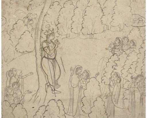 A DRAWING OF KRISHNA AND THE GOPIS, PAHARI SCHOOL, 19TH CENTURY