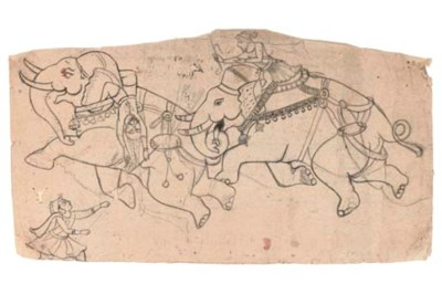 DRAWING OF AN ELEPHANT FIGHT,