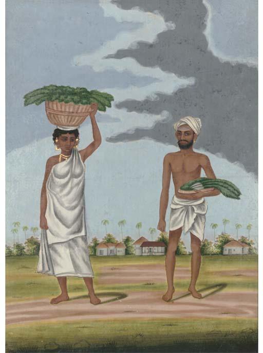 A COUPLE OF FARMERS, TANJORE, CIRCA 1800
