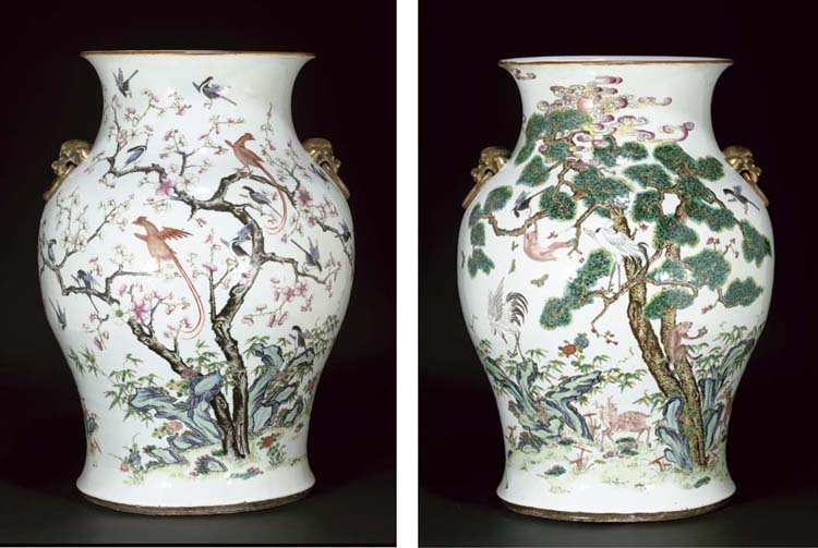 A large famille rose baluster vase, 19th century