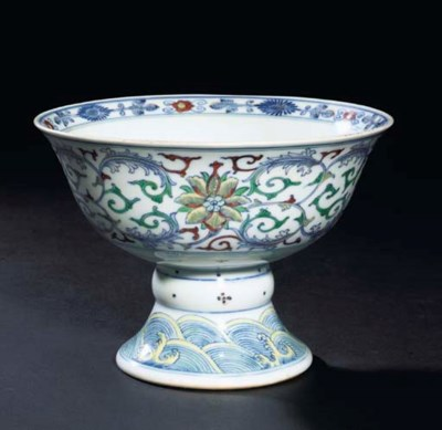 A Doucai decorated stembowl, Q