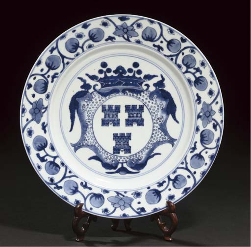A blue and white Dutch armorial plate, Kangxi