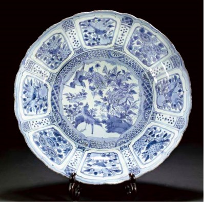 A blue and white Kraak porcela