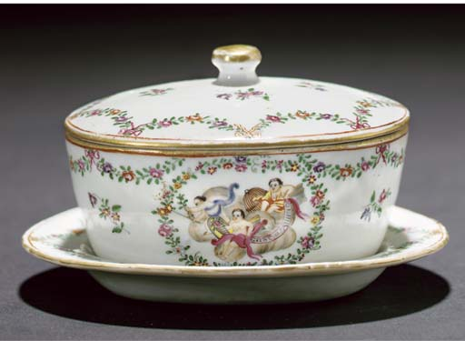 A famille rose Export butter tub, cover and stand, Qianlong