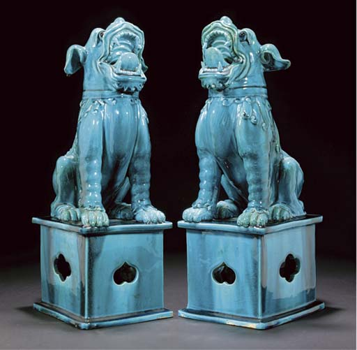 A pair of turquoise-glazed buddhistic lions, 19th century