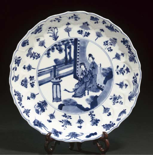 A blue and white dish, Kangxi six character mark and of the Period