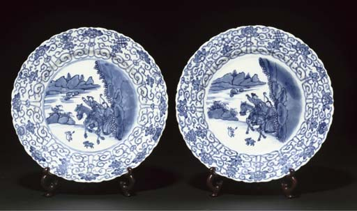 A pair of blue and white shaped dishes, Kangxi
