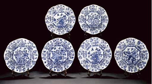 A set of six blue and white floriform dishes, Kangxi