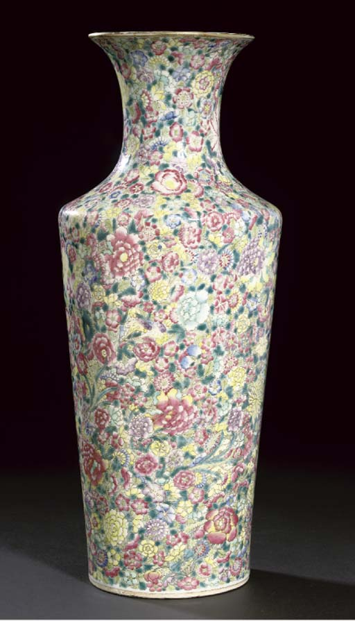 A Chinese famille rose millefiore tapering vase, 19th century