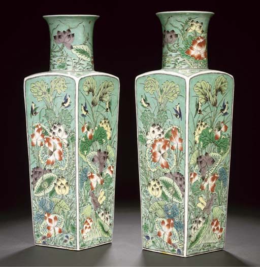 A pair of famille verte square section vases, 19th century