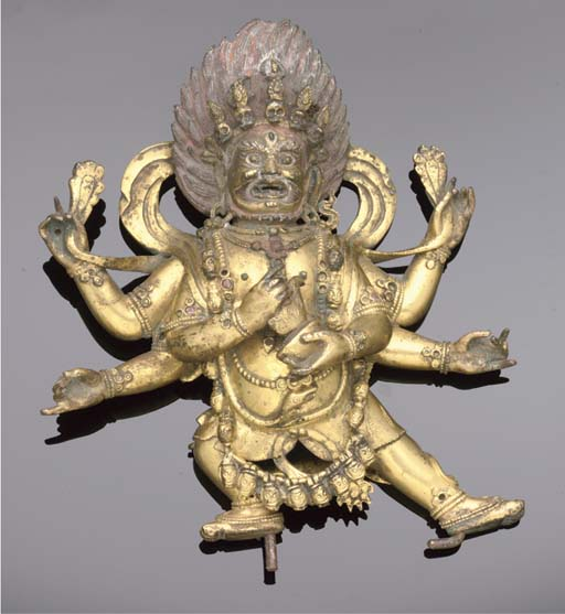 A Sino-Tibetan gilt copper model of Mahakala, 17th/18th Century