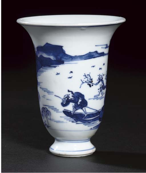 A blue and white slender flaring beaker, Kangxi