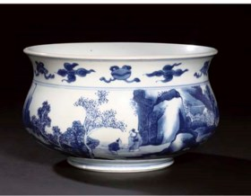 A blue and white censer, Kangxi