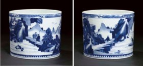 A blue and white brushpot, Kangxi