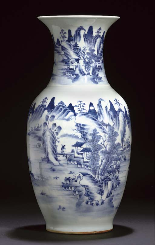 A blue and white baluster vase, circa 1800