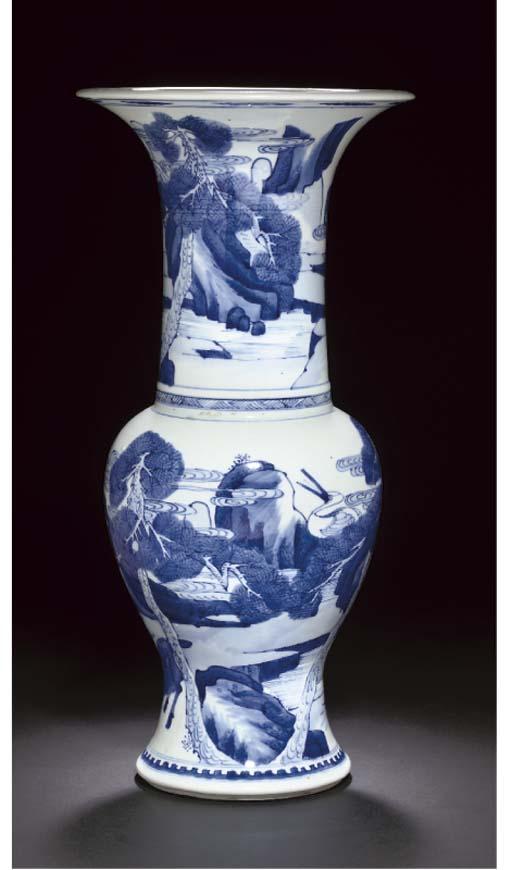 A blue and white yan yan vase, Kangxi