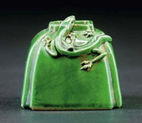 A CHINESE GREEN GLAZED BRUSHWASHER, DAOGUANG MARK AND PERIOD