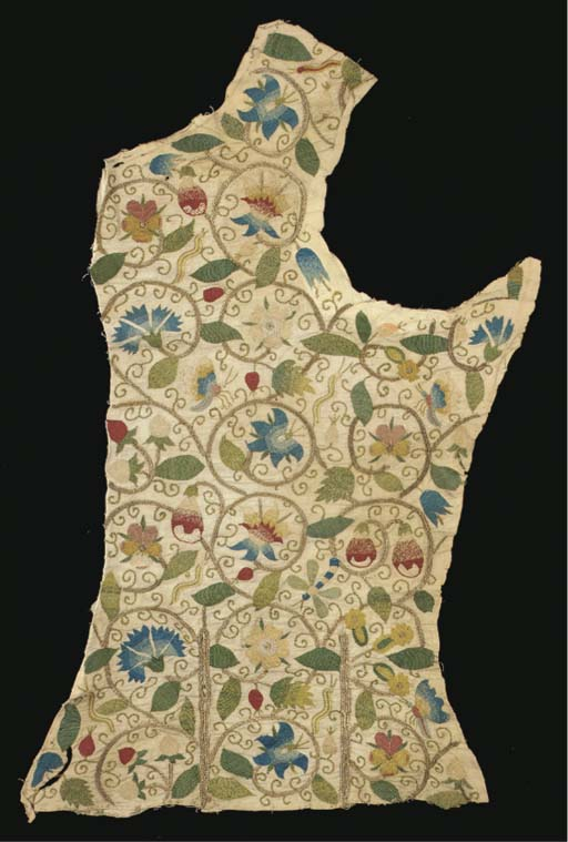 A bodice panel of ivory linen from a lady's embroidered jacket, worked with curling gilt thread tendrils with pea pods, pansies, fruit, butterflies, dragonflies and caterpillars, English, circa 1620-30