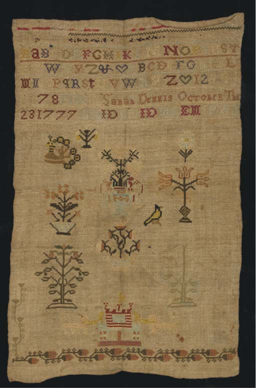 A sampler by Sarah Dennis 1777