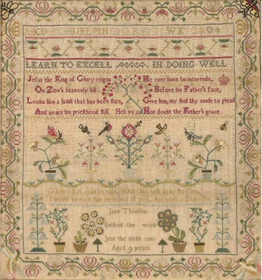A sampler by Jane Thomson 'fin