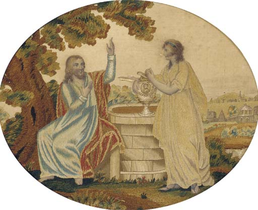 An oval silkwork picture, embr