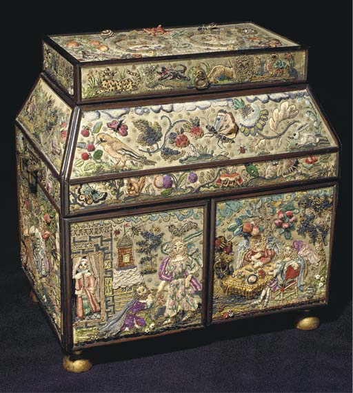 An embroidered casket, the fro