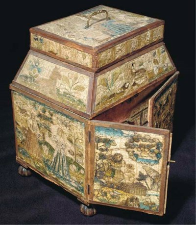 An embroidered casket, worked