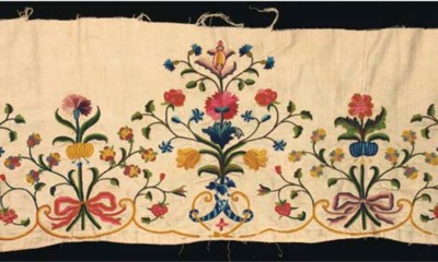 An embroidered linen border, f