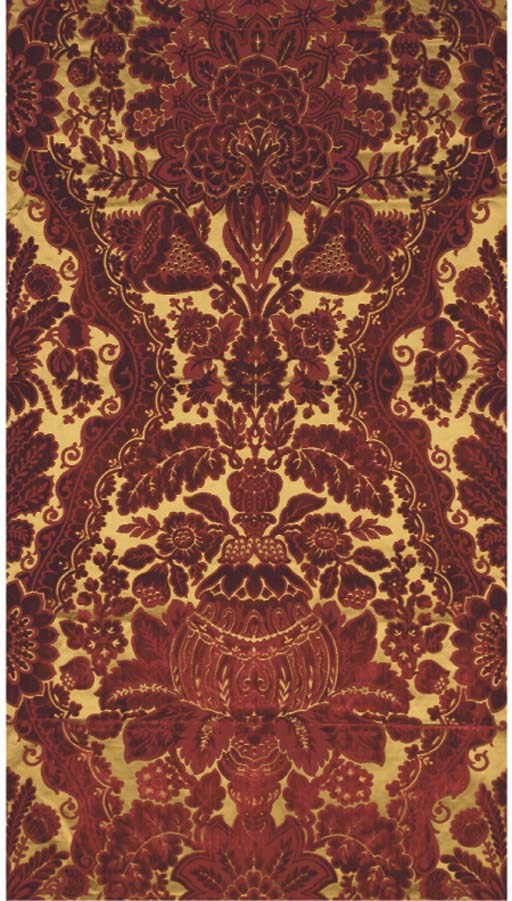 A collection of velvets including two lengths of burgundy cut and uncut velvet voided to reveal a yellow satin ground, tagged Velours de Genes, dated 15/2/09--68 x 25½in. (172 x 65cm.); and another; a sample length of green and burgundy velvet, voided to an ivory satin ground, in the manner of Genoese 'Garden' velvets--stamped 12079--63½ x 24in. (162 x 62cm.)