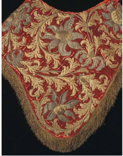 An embroidered saddle cover, t