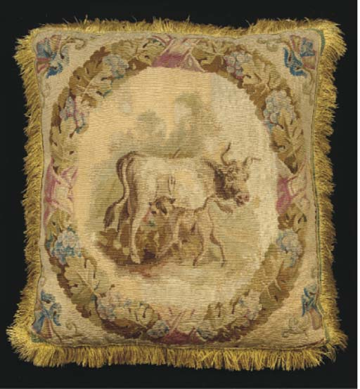 A collection of tapestry cushions woven with game-birds, hounds, cattle and other subjects, backed in linen or silk--each cushion approximately 15 x12in. (38 x 30cm.), the tapestry 18th century, the cushions modern