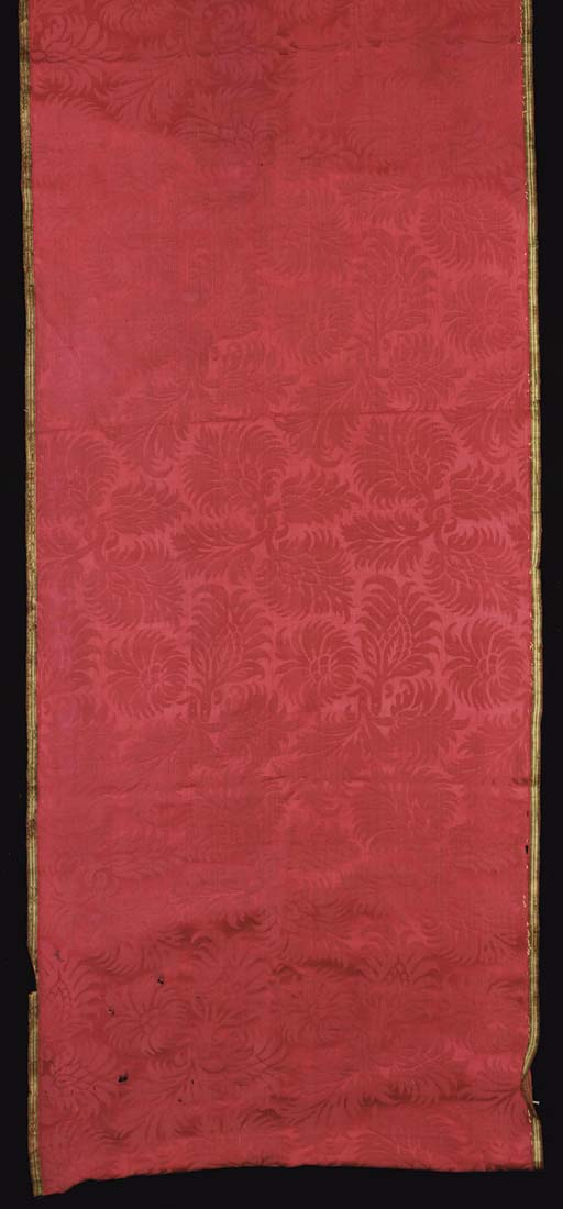 A joined panel of crimson silk