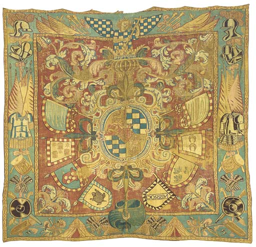 A large armorial tapestry, wov