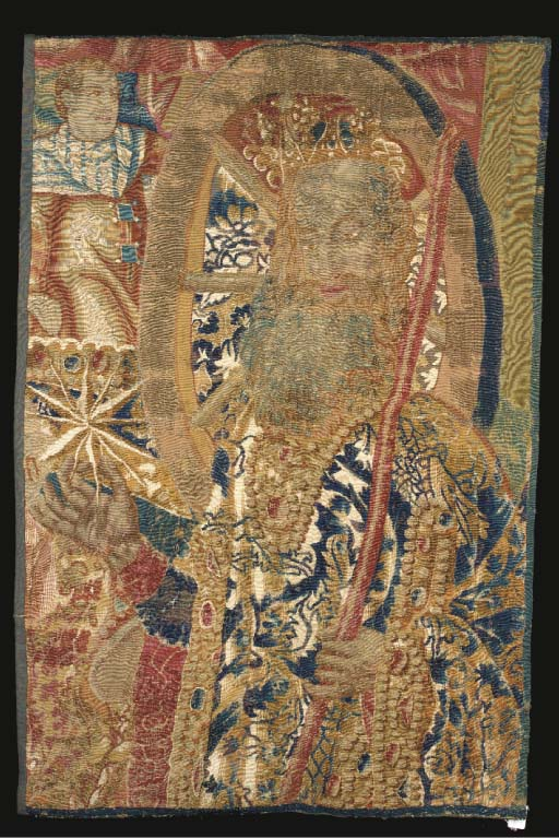 A Flemish tapestry fragment of Neptune in a grand robe holding his trident in one hand and a star in the other--46 x 31½in. (118 x 80cm.), early 17th century, mounted on wooden pole, some wear, repairs, cut down