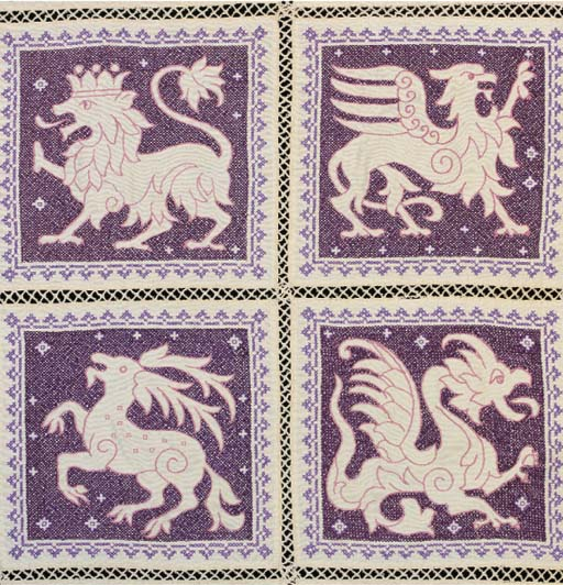 An embroidered coverlet, compo