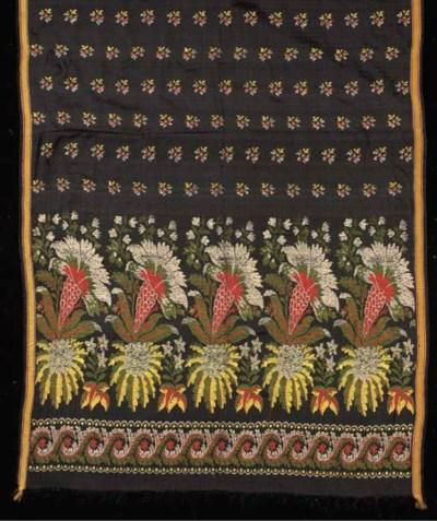 A stole of figured silk, woven