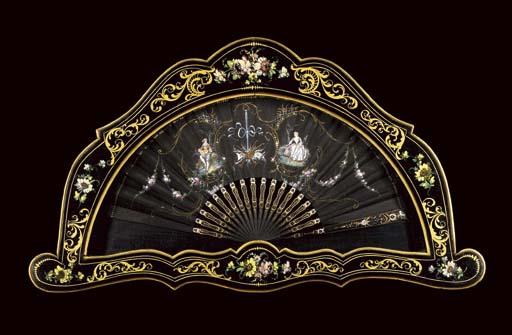 A fan, the black silk leaf pai