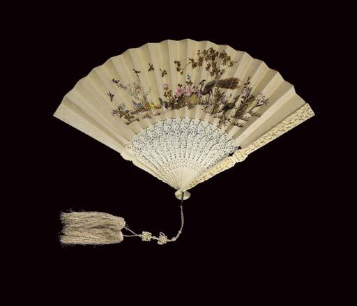 A Canton fan, the silk leaf em