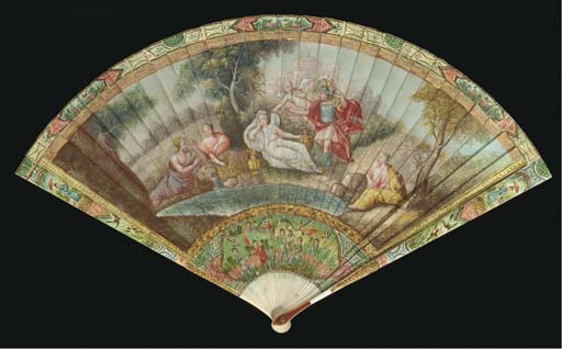 Mars and Venus, an ivory brisé fan painted in early 18th century style, possibly over an early fan, the reserves with chinoiserie, the verso with outline of the recto and below a tree with birds and butterflies--8in., circa 1900