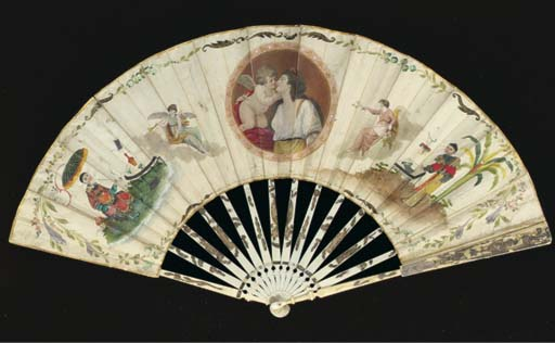 A chinoiserie fan, the leaf wi