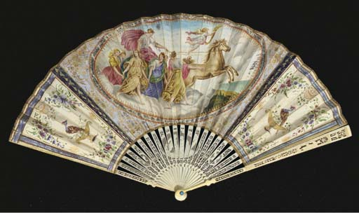 Aurora, a fan the leaf painted with an oval vignette, the reserves painted with birds and decorated with glitter, the verso painted with garlands of leaves, the ivory sticks carved and pierced with lovers and trophies of love--10in. Italian mounted in England, circa 1780